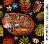 embroidery fox  autumn seamless ... | Shutterstock .eps vector #1101088889