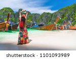 traveler woman in colorful... | Shutterstock . vector #1101093989