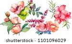 pink bouquet wildflower. floral ...   Shutterstock . vector #1101096029