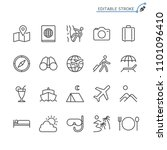 traveling line icons. editable... | Shutterstock .eps vector #1101096410