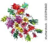 vintage vector floral... | Shutterstock .eps vector #1101096860