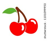ripe cherry berries on a white... | Shutterstock .eps vector #1101099953