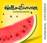 hello summer inscription on the ... | Shutterstock .eps vector #1101102014