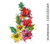 vintage vector floral... | Shutterstock .eps vector #1101102164