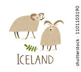 two vector sheep. symbol of... | Shutterstock .eps vector #1101103190