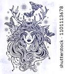shaman elf magic woman with... | Shutterstock .eps vector #1101113678