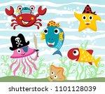 vector cartoon set of funny... | Shutterstock .eps vector #1101128039
