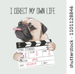 pug with director slate... | Shutterstock .eps vector #1101128846