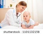 young female doctor doing... | Shutterstock . vector #1101132158
