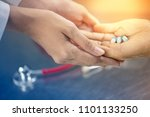doctor take care patient by... | Shutterstock . vector #1101133250