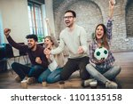 happy friends or football fans... | Shutterstock . vector #1101135158