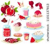 pomegranate vector fresh fruity ... | Shutterstock .eps vector #1101137813