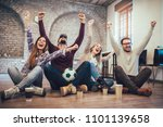 happy friends or football fans... | Shutterstock . vector #1101139658