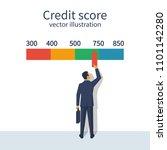 credit score  gauge. man... | Shutterstock .eps vector #1101142280