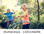 senior woman exercising with a... | Shutterstock . vector #1101146696