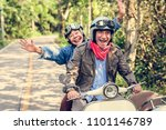 senior couple riding a classic... | Shutterstock . vector #1101146789