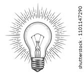 engraving light bulb. vintage... | Shutterstock .eps vector #1101147290