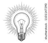 engraving light bulb. vintage... | Shutterstock .eps vector #1101147290