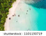 tropical white sand bech with... | Shutterstock . vector #1101150719