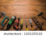 Carpenter Tools On Table...