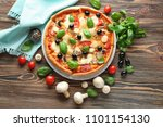 tasty italian pizza and... | Shutterstock . vector #1101154130