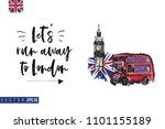 travel london banner. retro... | Shutterstock .eps vector #1101155189