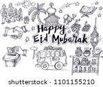 happy eid mubarak  doodle | Shutterstock .eps vector #1101155210