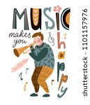 funny musician playing a... | Shutterstock .eps vector #1101157976