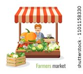 farmers market promo with man... | Shutterstock .eps vector #1101158330