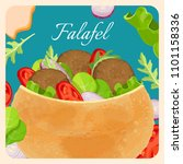falafel exotic eastern dish... | Shutterstock .eps vector #1101158336