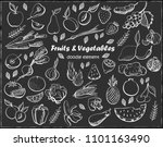 fruits and vegetables drawn on...   Shutterstock .eps vector #1101163490