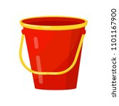 bright red bucket with yellow... | Shutterstock .eps vector #1101167900