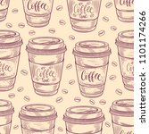 hand drawn coffee cups seamless ... | Shutterstock .eps vector #1101174266