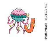 english letter j. jellyfish.... | Shutterstock .eps vector #1101177713