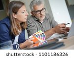 designer and architect working... | Shutterstock . vector #1101186326