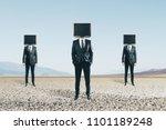 tv headed men standing on... | Shutterstock . vector #1101189248