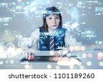 little girl and futuristic gui. | Shutterstock . vector #1101189260