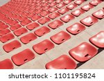 empty plastic red seats on... | Shutterstock . vector #1101195824