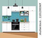 modern kitchen interior  ... | Shutterstock . vector #1101200369