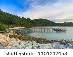wooden plank pier bridge with... | Shutterstock . vector #1101212453