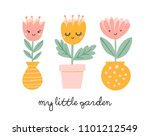cute flowers in pots and vases...   Shutterstock .eps vector #1101212549