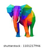 low poly multicolored elephant  ... | Shutterstock .eps vector #1101217946