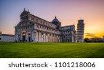 leaning tower of pisa in pisa ... | Shutterstock . vector #1101218006