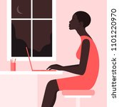 the african girl is sitting at... | Shutterstock .eps vector #1101220970