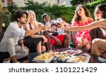 multiethnic group of friends... | Shutterstock . vector #1101221429