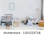 patterned stool in spacious... | Shutterstock . vector #1101223718