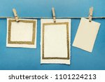 old cards hanging with wooden... | Shutterstock . vector #1101224213