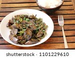 Small photo of Braised brinjal and beans is a easy and common Chinese stir fry.