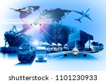 world map with logistic network ... | Shutterstock . vector #1101230933