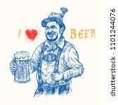 man in traditional bavarian... | Shutterstock .eps vector #1101244076